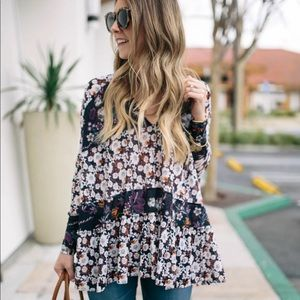 Free People Isabelle Floral Hi-Low Boho Blouse XS